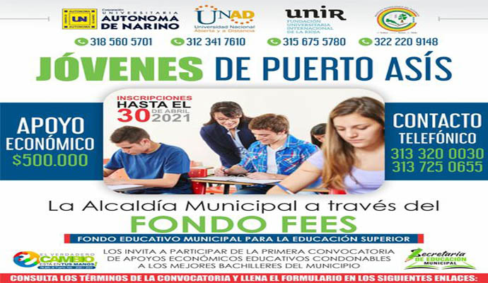 CONVOCATORIA FONDO EDUCATIVO MUNICIPAL PARA LA EDUCACIÓN SUPERIOR FEES 2021